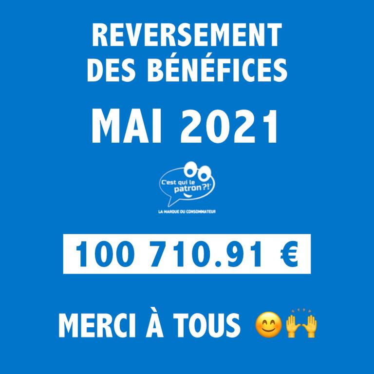 Bénéfices de mai 2021