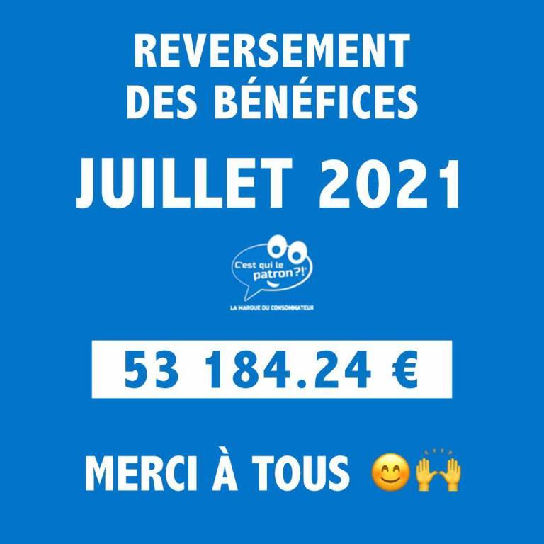 Bénéfices de juillet 2021