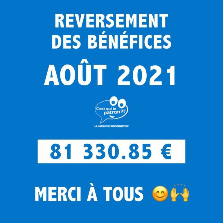 Bénéfices d'août 2021